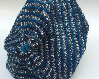 Wool slouchy hat blue black white handknitted