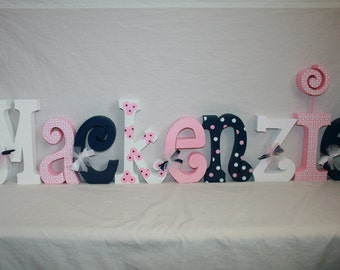Nursery letters, Name letters, Nursery wood letters, Girl nursery letters, 9 letter set, Wood letters, Teen room decor, Pink and navy decor