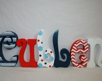 wooden letters baby name letters red white blue 6 letter set baby shower gift photo prop centerpiece hanging letters nursery art