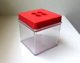 Mod Red Plastic Dansk Container Box Storage Cannister 1970's