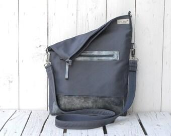 Grey Canvas Tote bag, Unisex Messenger bag, Foldover Crossbody bag, laptop bag, macbook case, unique gift for women, adjustable strap