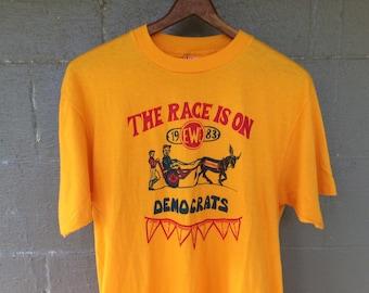 Vintage 1983 Democrats Political Race Tshirt