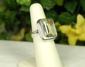 Green Amethyst Ring, Size 6,  Soft Green Sparkle, Large Emerald Cut, Sterling Silver, Big Prasiolite Ring