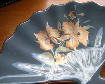 Shaddy Japan Grey Floral Ceramic Tray /  Asian Fan Shaped decor
