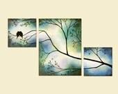 Romantic Love Birds Blue Triptych Custom Painting Anniversary Wedding Art