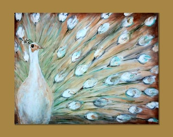 White Peacock Bird Poster Print 24x36 by Laura Sue Large Elegant Wall Art
