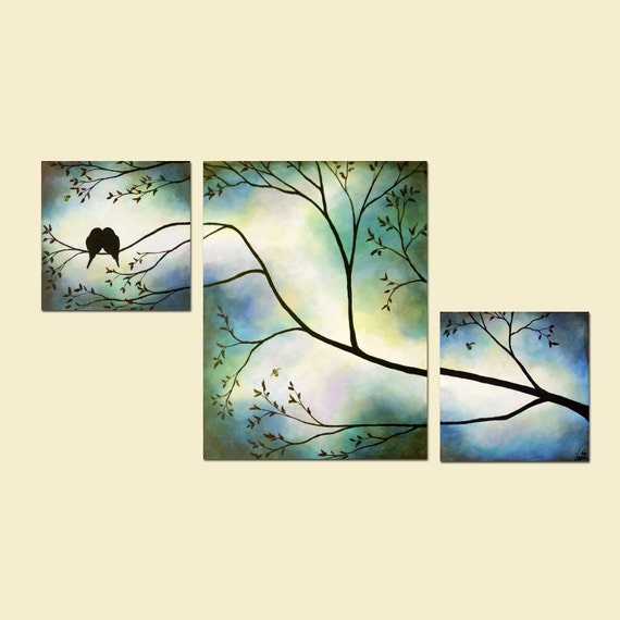 Romantic Love Birds Blue Triptych Custom Painting Anniversary Wedding Art