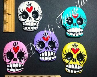 Sugar Skull CRAFT SUPPLY Made to Order Set of 5 Hand designed handmade sugar skull cab