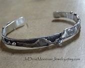 Sterling silver mens or womans cuff, fused,reticulated,rustic,oxidized,edgy,artisan, large size, hand fabricated metalsmith jewelry