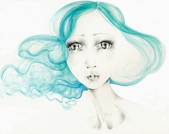 "Watercolor Painting Fine Art Print of My Original Watercolor Painting She's Called ""Summer"" Aqua Hair Pretty Painting of a Girl Big Eye Art"