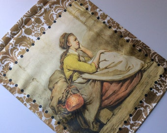 Tapestry Wall Panel, Traveling Girl with Teapot    Home Decor, Art for your Wall, Window Treatment, Curtain, Cool, Fun