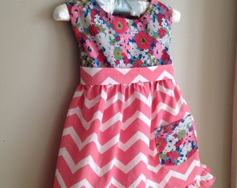 Baby Girl Special Occasion Dress - Little Girl Dresses - Girls Floral Dress - 12 Months -2T - Toddler Dress with Bloomers - Girls Chevron