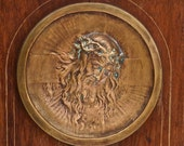Signed J Kratina Bronze Plaque - Jesus Christ - 1900s bronze - Religious Sculpture - Czech