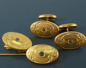 Victorian Cuff links. Tie Clip. Stick Pin 1800s . 1800s cufflinks. partsforyou No.0036 cs