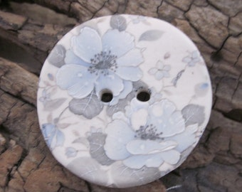 Pale Blue Grey Wild Rose Motif Ceramic Button