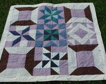 Baby Quilt, Lavender and Chocolate