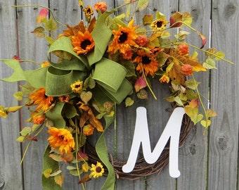 Fall Wreath, Sunflower Wreath, Monogram Wreath