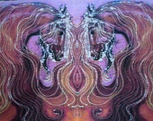 Horse of Purple with Flowing Mane  -  batik art fabric  from original - Custom printed fabric from batik