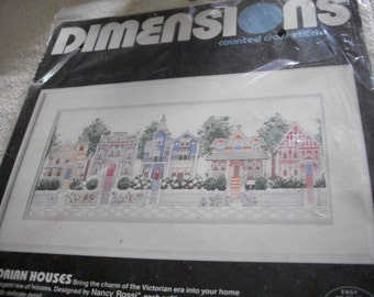 Victorian Houses Cross Stitch Kit:Comes with Fabric, Floss & Directions