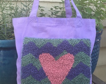 SALE Hand Hooked Rug Tote Bag - Chevron Heart