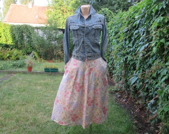 Cotton Skirt / Skirt Vintage / Full Skirt / Size EUR42 / 44 / UK14 / 16 / Side Pockets / Side Slits / Side Elastic Waist / Zipper on Back
