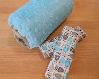 Mini Owls in Grey and Turquoise Infant Carrier Arm Pad/Handle Cover With Cars Seat Strap Covers