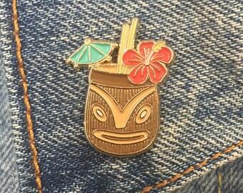 Tiki Drink Pin, Tiki Bar, Tiki Mug, Soft Enamel Pin, Jewelry, Art, Gift (PIN2)