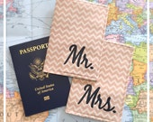 Mr & Mrs Passport Cover Set Tan Chevron Honeymoon Travel Accessory Travel Wallet Customized Passport Protector Cruise Passport Holder