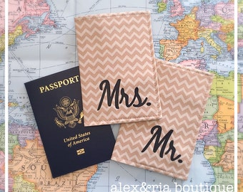 Passport Covers Mr & Mrs Set Khaki Chevron Destination Wedding Gift Travel Wallet Customized Passport Protector Travel Accessories Honeymoon