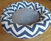 "READY - to - SHIP -- One-Piece 18"" - Dog Bed - Cat Bed - Navy Blue & White Zig Zag, Chevron with Grey Minky Center"
