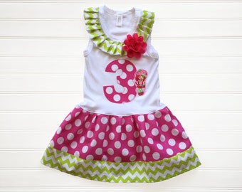 Strawberry Shortcake Dress Chevron Dress Birthday Dress Girls Dress