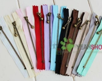 Antiqued Brass Metal Purse Zippers - 12cm / 4.7 inches - 5 PCS (ZP12-1)