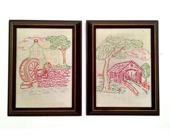 Vintage framed needlepoint art FREE SHIPPING!