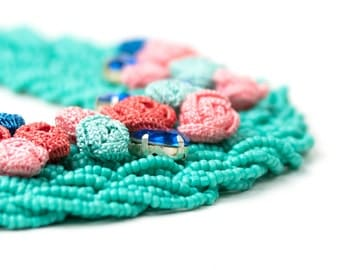 Necklace-Bohemian Turquoise Seed Bead Beadwork Statement Necklace,Handmade Crochet Roses Flowers Jewelry