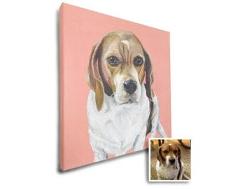 12x12 custom dog portrait pet painting on canvas beagle art best gift for dog lovers