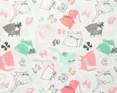 Kitten's Meow Play Date in White, Heather Rosas, 100% Cotton, Camelot Fabrics, 6141401 1