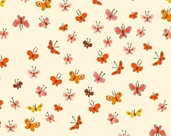Tiger Lily Butterflies in Cream, Heather Ross, Windham Fabrics, 100% Cotton Fabric, 40933-5