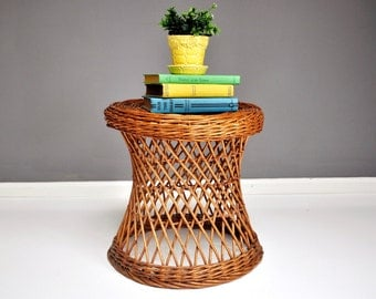 Vintage Wicker Side Table or Plant Stand