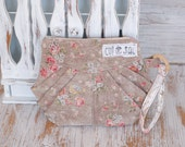 Eco-friendly retro and vintage style wristlet or clutch with strap zipper closure with folds shabby chic flower recycled cosmetic case
