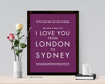 Wedding Decor - Personalized Art Poster - Choose Your Locations - Keepsake Gift for Couple