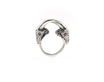 The Hunted II owl talon arch ring in bronze or sterling silver