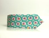 Mint green with ivory and pink floral print cotton neck tie wedding neck tie handmade tie skinny necktie