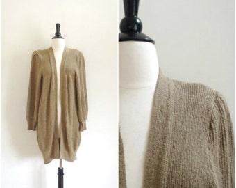 Vintage long tan cardigan / light brown soft oversized sweater