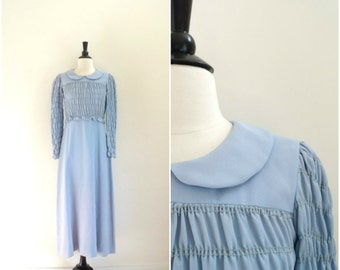 Vintage sky blue ruched top dress / peter pan collar long sleeved gown / 1970's dress