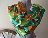 Vintage Scarf Designer Smith's Bermuda Island Scarf Green Floral D18