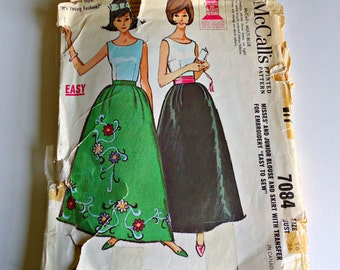 1960s Evening Gown Skirt Blouse w/ transfer McCall's 7084 size 14 bust 34