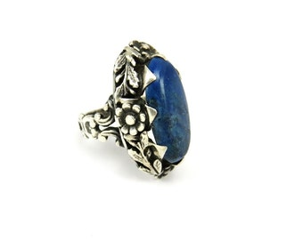 Art Deco Rings, Lapis Lazuli Ring, Sterling Silver Rings, Art Nouveau Jewelry, Flower Ring, Blue Stone, 1920s Art Deco Jewelry, Size 4.5