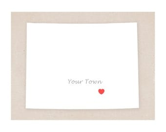 Wyoming art - Your Town in Wyoming - Simple Heart - 11x14 print