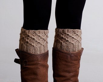 Hand Knitted Boot Cuffs,  Leg Warmers, boot accessories  Boot socks, Cable Boot cuffs, Smoky brown Taupe.