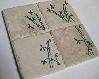 Stone Tile Coaster Set of 4 Bamboo Hand Painted Coasters